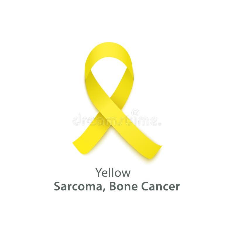 Icono amarillo de la cinta para la enfermedad del hueso y la conciencia del sarcoma stock de ilustración