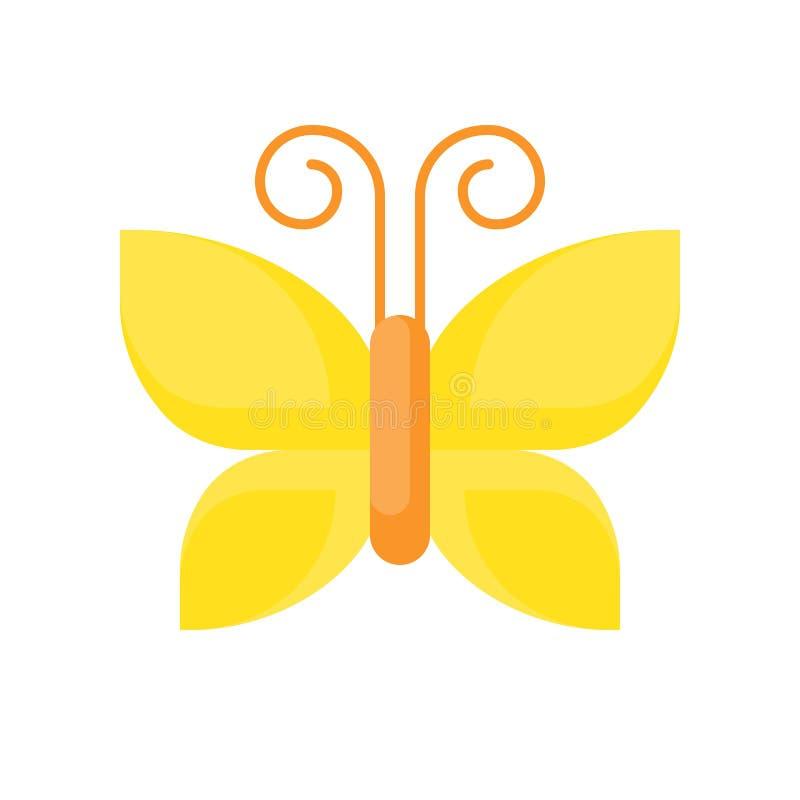 Icono amarillo de la mariposa aislado en el illust blanco del vector del fondo libre illustration