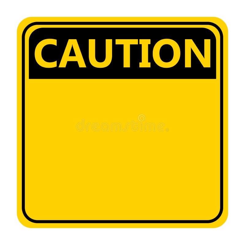 Icono amarillo de la muestra de la precaución del símbolo en el fondo blanco ilustración del vector