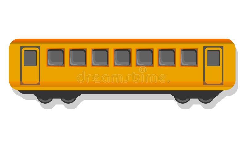 Icono amarillo del carro del pasajero, estilo de la historieta stock de ilustración