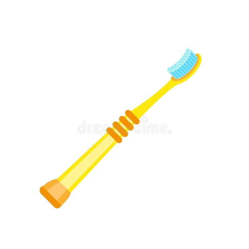 Icono amarillo del cepillo de dientes del niño, estilo plano ilustración del vector