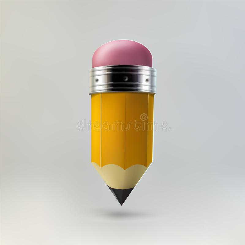 Icono amarillo del lápiz ilustración del vector