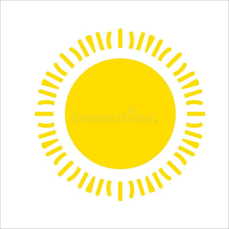 Icono amarillo del sol aislado en el fondo blanco Luz del sol plana, muestra Símbolo del verano del vector para el diseño del sit stock de ilustración