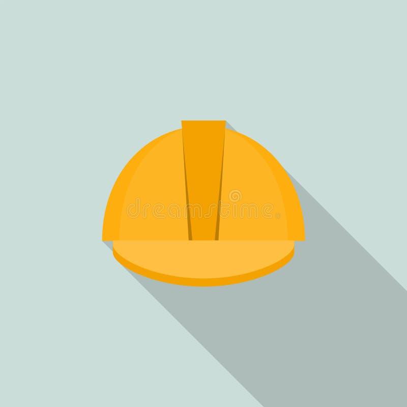 Icono amarillo del soldador de la protección del casco, estilo plano libre illustration