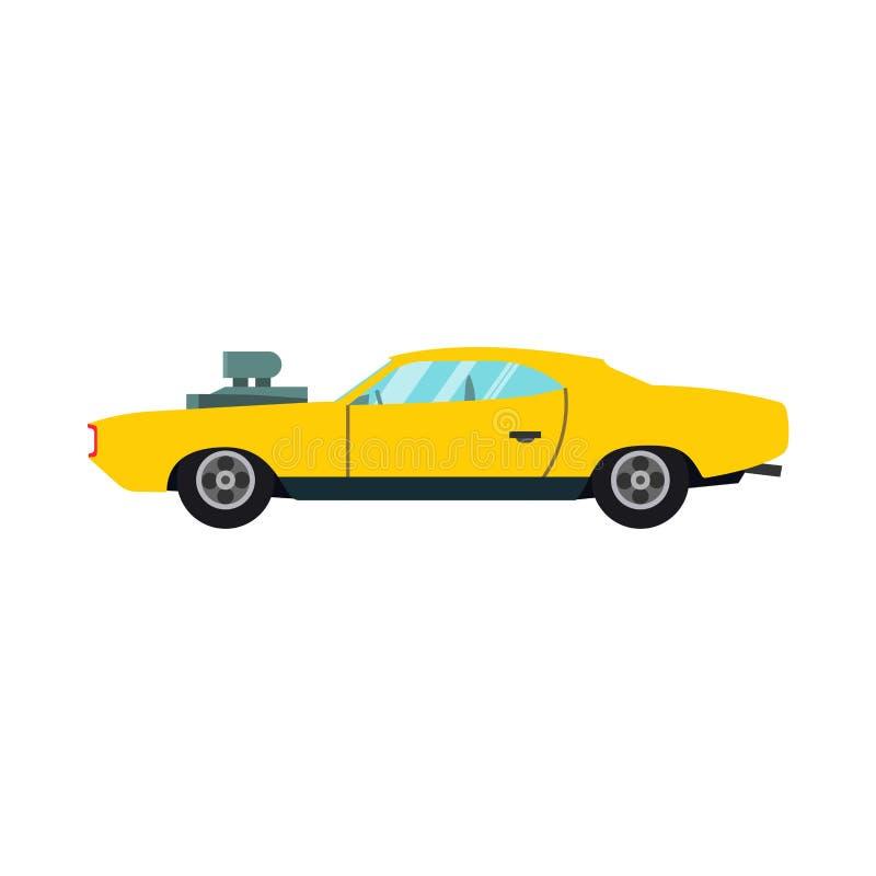 Icono amarillo del vector de la vista lateral del coche de carreras Veh?culo moderno del deporte de la tecnolog?a automotriz del  libre illustration