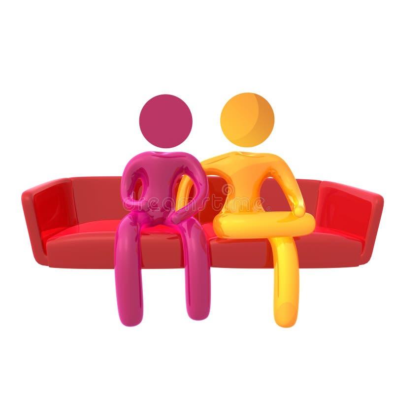 Icono amarillo elástico del humanoid en el sofá stock de ilustración