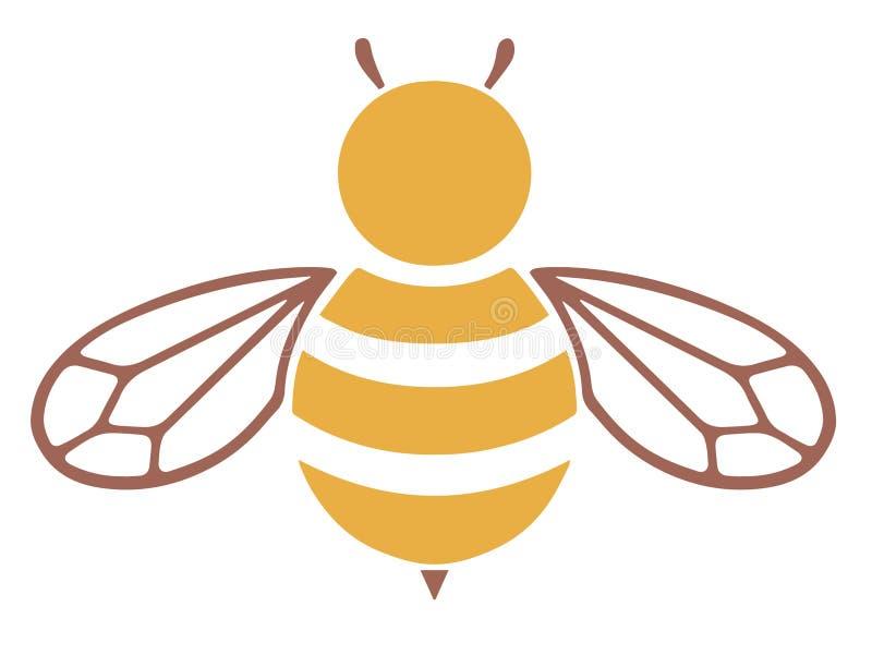 Icono amarillo y marrón del vector de la abeja stock de ilustración
