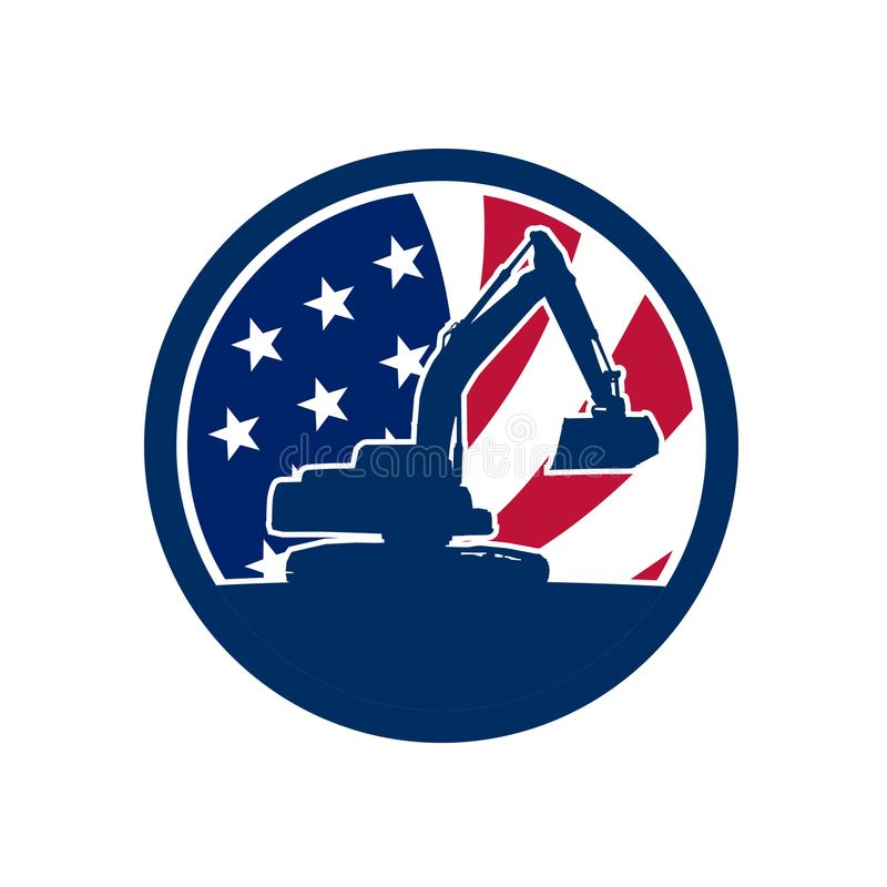 Icono americano de la bandera de los E.E.U.U. del excavador stock de ilustración