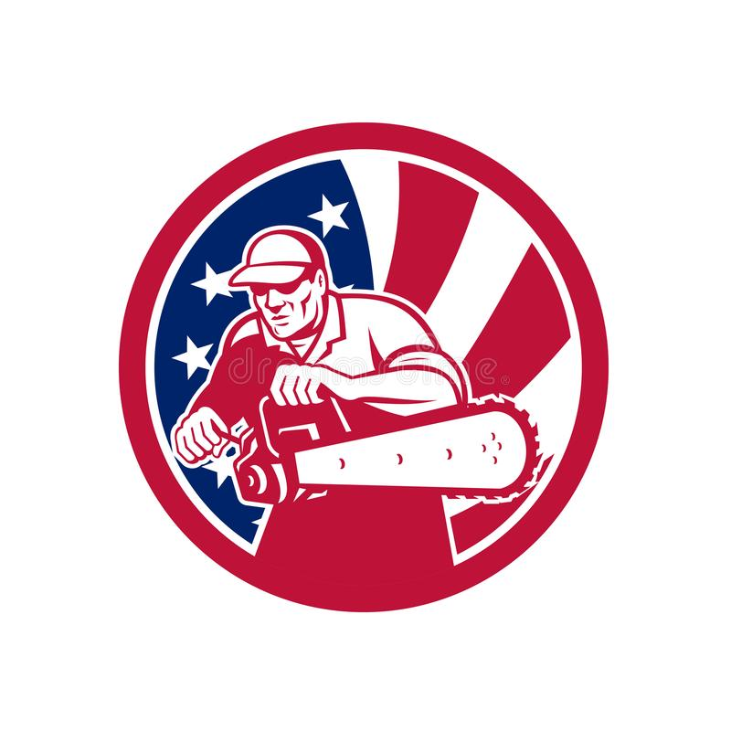 Icono americano de la bandera de los E.E.U.U. del leñador ilustración del vector