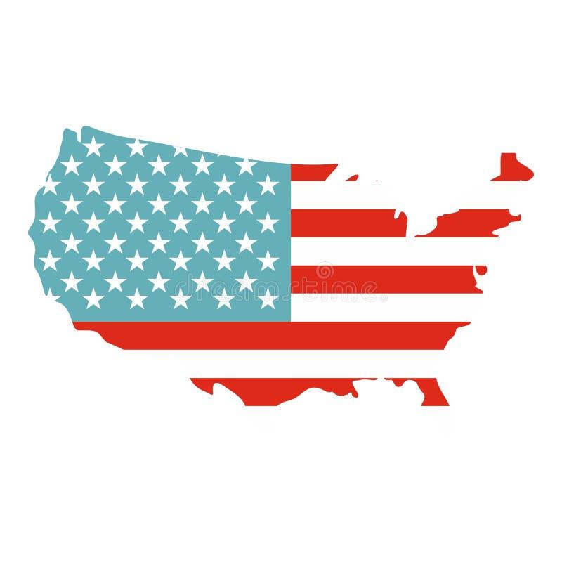 Icono americano del mapa aislado stock de ilustración