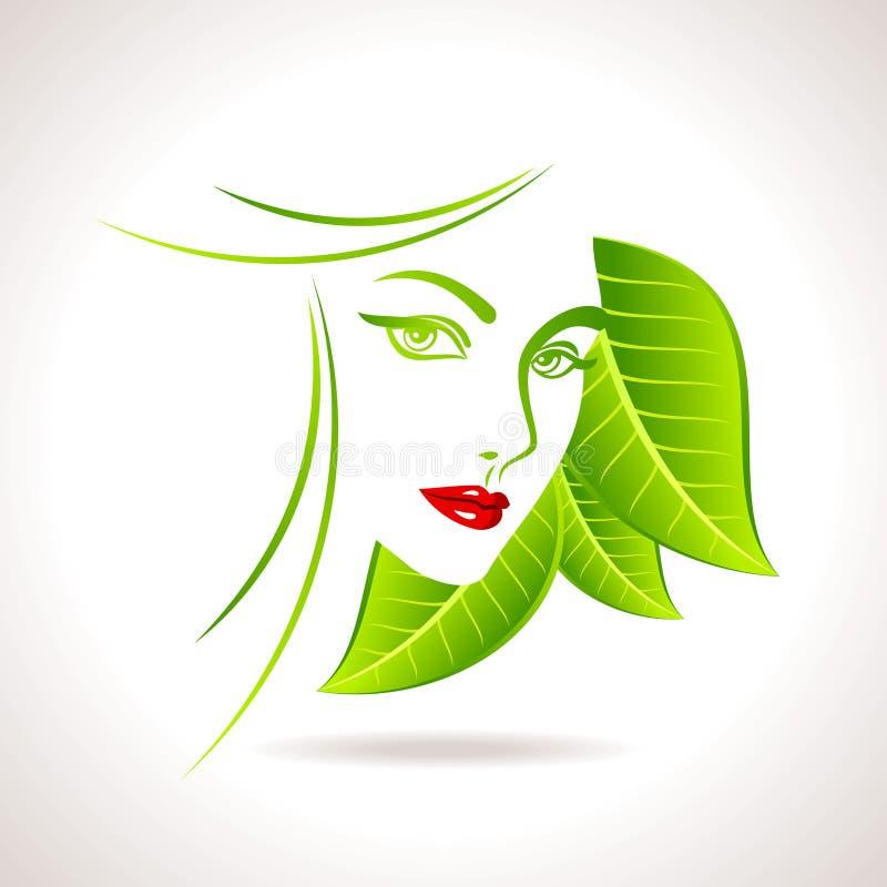 Icono amistoso del eco verde con la cara de las mujeres ilustración del vector