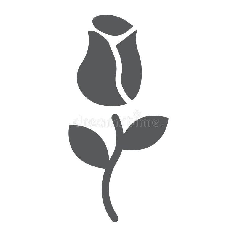 Icono, amor y floral del glyph de Rose, muestra de la flor, gráficos de vector, un modelo sólido en un fondo blanco libre illustration