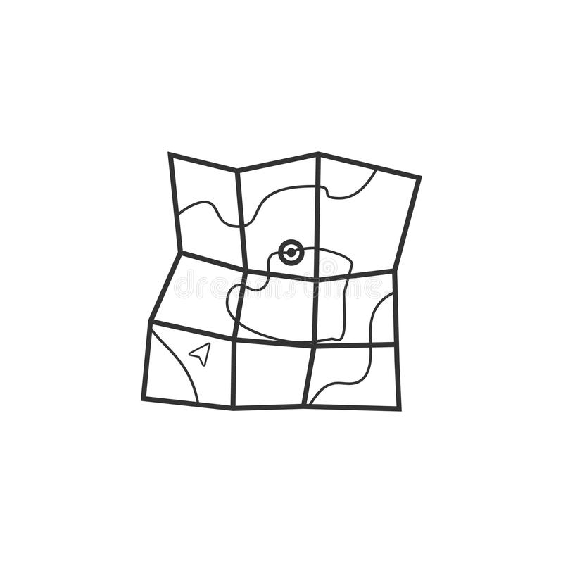 icono ampliado del mapa El elemento del navegador firma para los apps móviles del concepto y del web Línea fina icono para el dis ilustración del vector