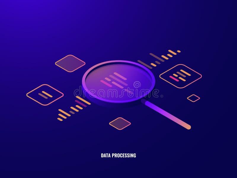 Icono, analytics y estadísticas isométricos de proceso de datos, lupa, visualización del negocio de los datos, infographic stock de ilustración