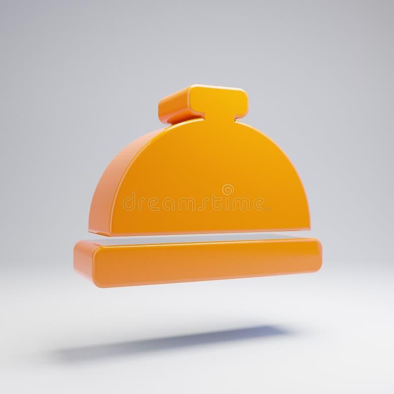 Icono anaranjado caliente brillante volumétrico de Bell del portero aislado en el fondo blanco ilustración del vector