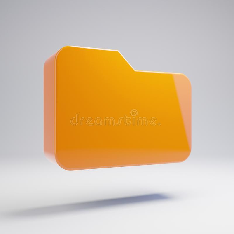 Icono anaranjado caliente brillante volumétrico de la carpeta aislado en el fondo blanco foto de archivo