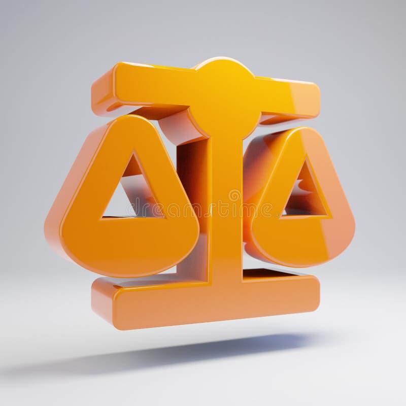 Icono anaranjado caliente brillante volumétrico de la escala de la balanza aislado en el fondo blanco ilustración del vector