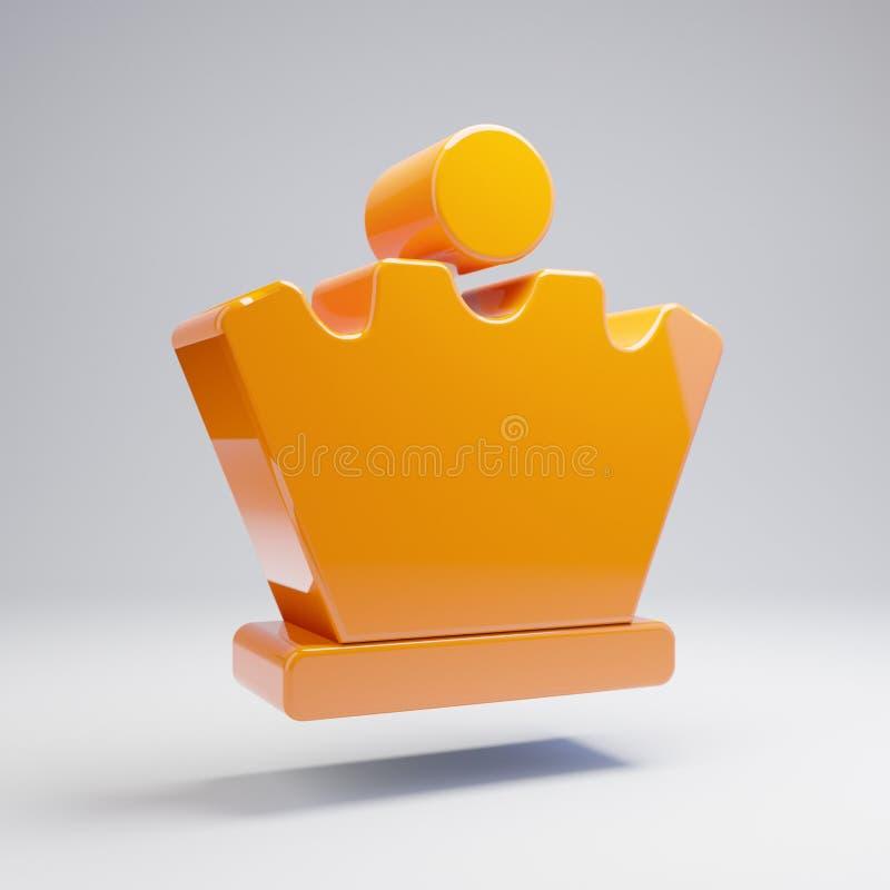 Icono anaranjado caliente brillante volumétrico de la reina del ajedrez aislado en el fondo blanco libre illustration