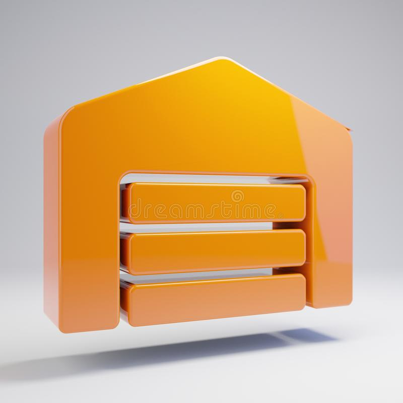 Icono anaranjado caliente brillante volumétrico del almacén aislado en el fondo blanco ilustración del vector