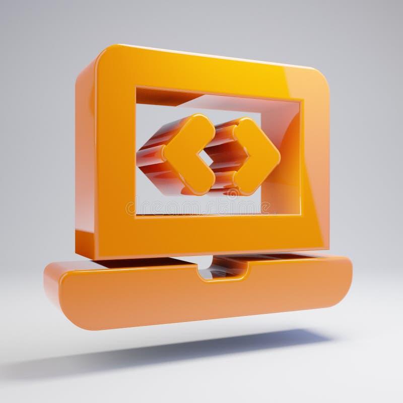Icono anaranjado caliente brillante volumétrico del código del ordenador portátil aislado en el fondo blanco stock de ilustración