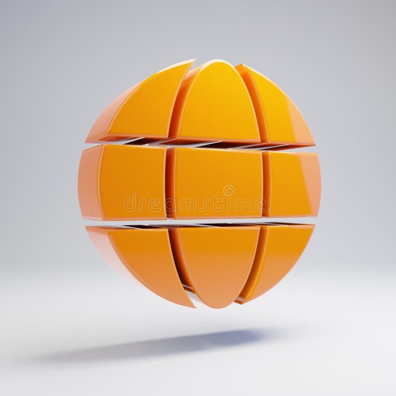 Icono anaranjado caliente brillante volumétrico del globo aislado en el fondo blanco libre illustration