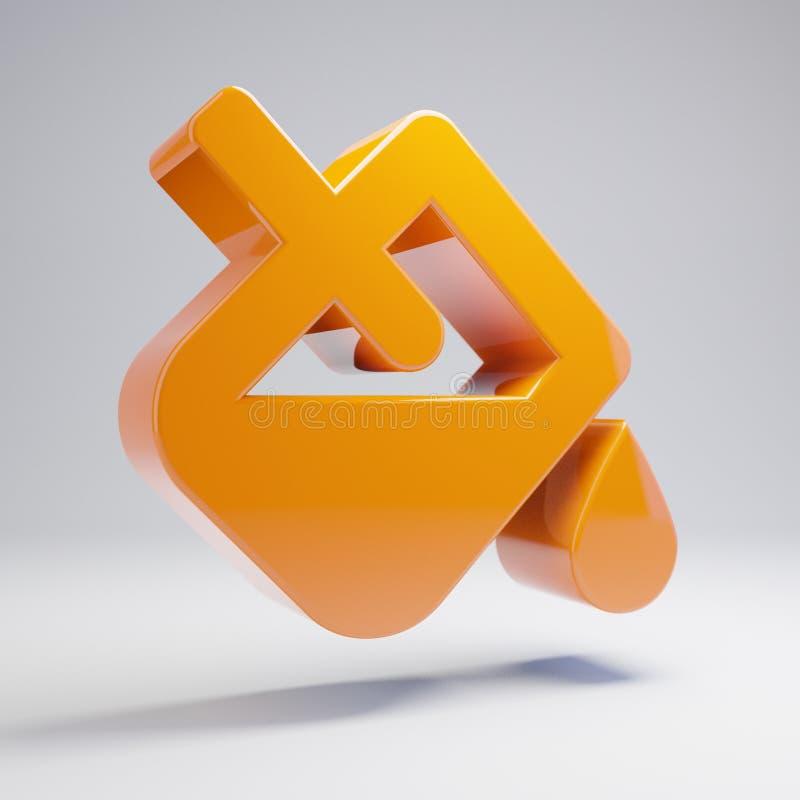 Icono anaranjado caliente brillante volumétrico del goteo del terraplén aislado en el fondo blanco libre illustration