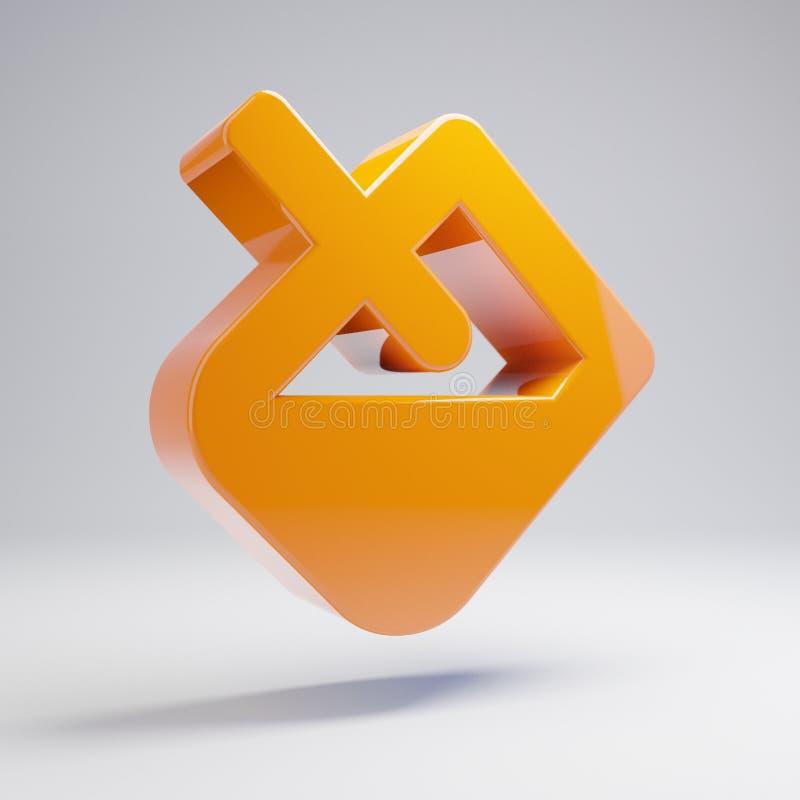 Icono anaranjado caliente brillante volumétrico del terraplén aislado en el fondo blanco ilustración del vector