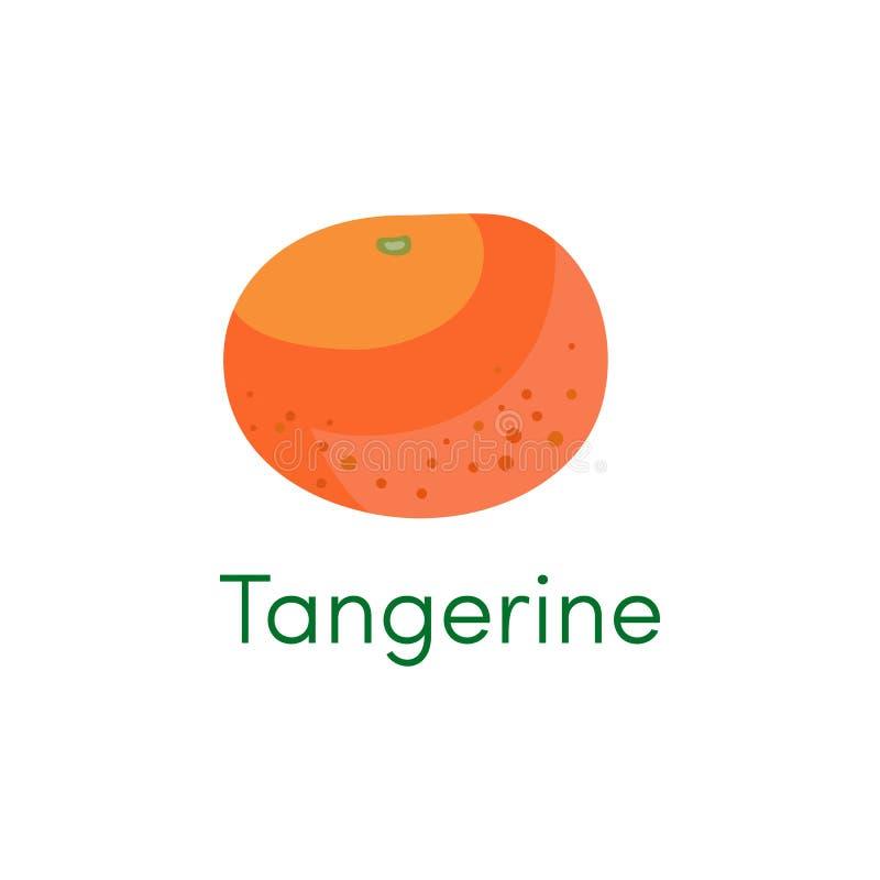 Icono anaranjado de la fruta del mandarín y de la mandarina Objeto de la fruta cítrica de la historieta aislado en un fondo blanc libre illustration