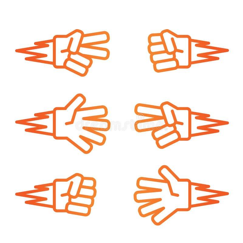 Icono anaranjado de la pendiente del piedra papel o tijera del juego de los niños stock de ilustración