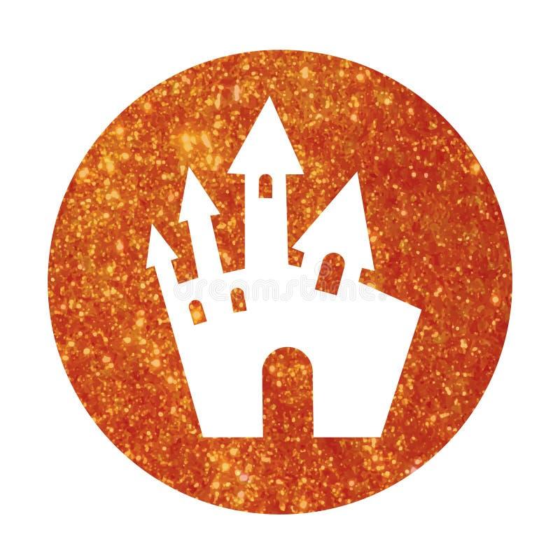 Icono anaranjado del edificio del castillo de Halloween del brillo del círculo ilustración del vector