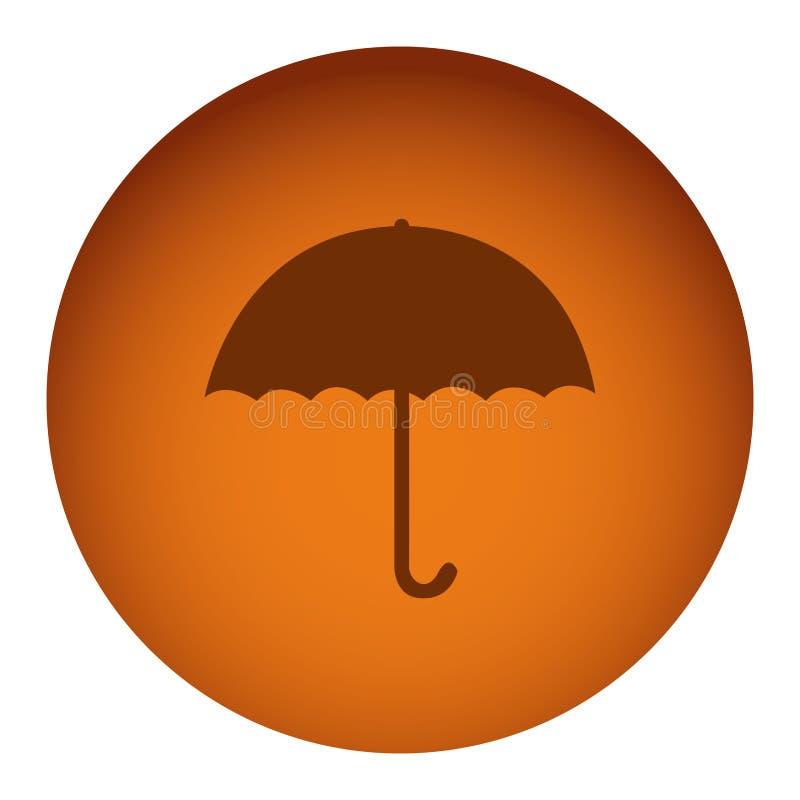icono anaranjado del paraguas de la etiqueta engomada del emblema stock de ilustración