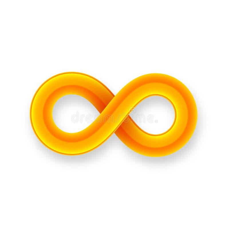 Icono anaranjado del símbolo del infinito del alambre brillante con stock de ilustración