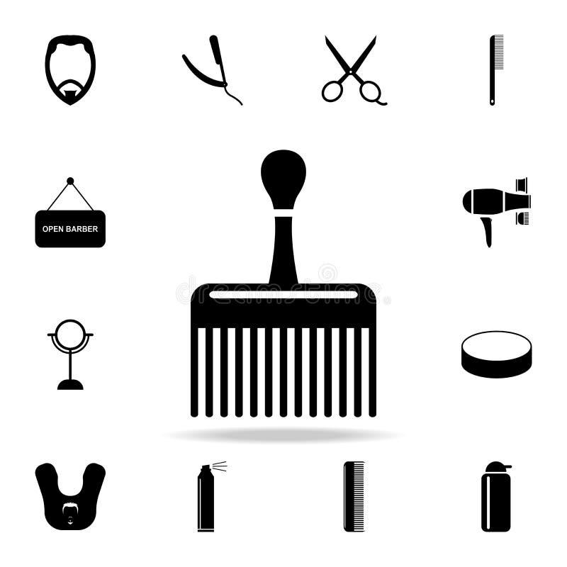icono ancho del peine Sistema detallado de herramientas del peluquero Diseño gráfico superior Uno de los iconos de la colección p libre illustration