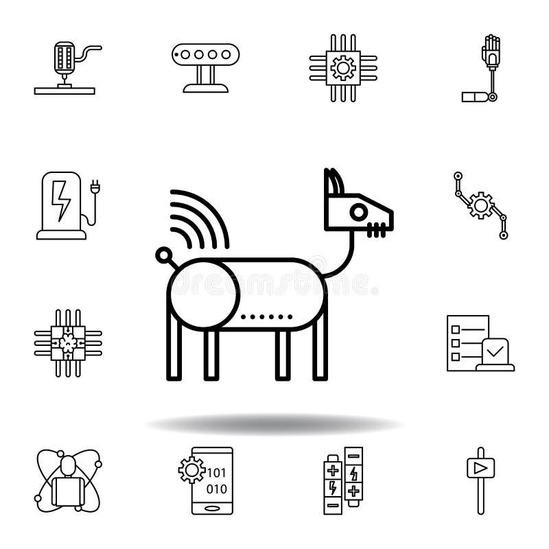 Icono animal del esquema del perro del robot de la rob?tica fije de iconos del ejemplo de la robótica las muestras, símbolos se p libre illustration