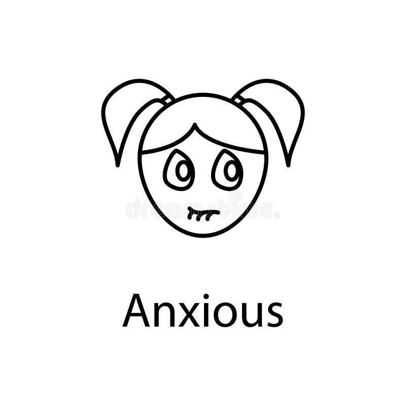 icono ansioso de la cara de la muchacha Elemento de las emociones para el ejemplo móvil de los apps del concepto y del web Línea  stock de ilustración