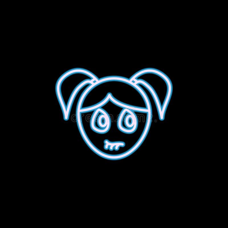 icono ansioso de la cara de la muchacha en el estilo de neón Uno del icono de la colección de las emociones se puede utilizar par stock de ilustración