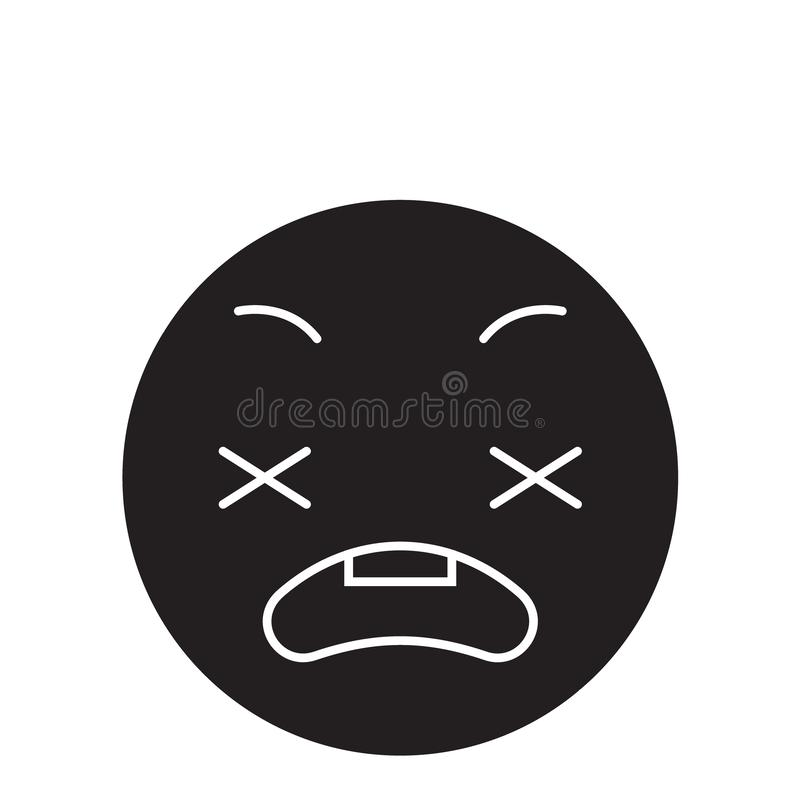 Icono ansioso del concepto del vector del negro del emoji Ejemplo plano del emoji ansioso, muestra stock de ilustración