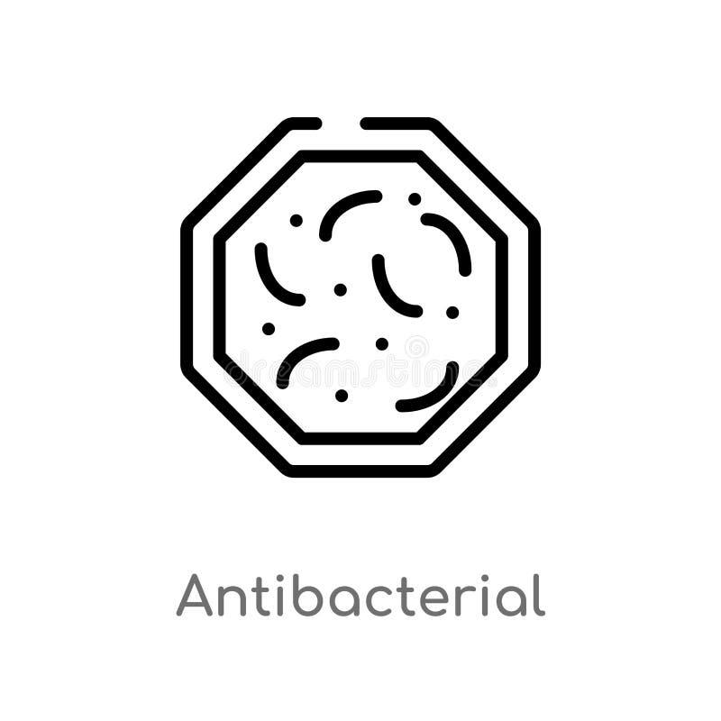 icono antibacteriano del vector del esquema línea simple negra aislada ejemplo del elemento del concepto de la higiene Movimiento stock de ilustración