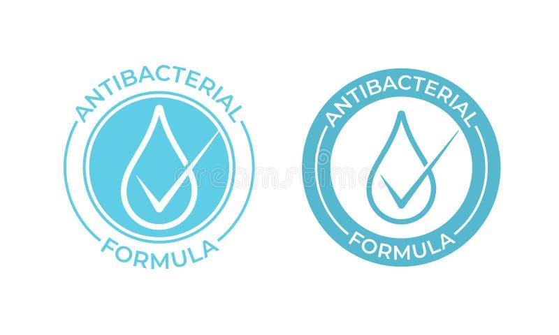 Icono antibacteriano del vector Muestra de la fórmula, jabón de la mano y sello bacterianos antis del paquete de los productos  stock de ilustración