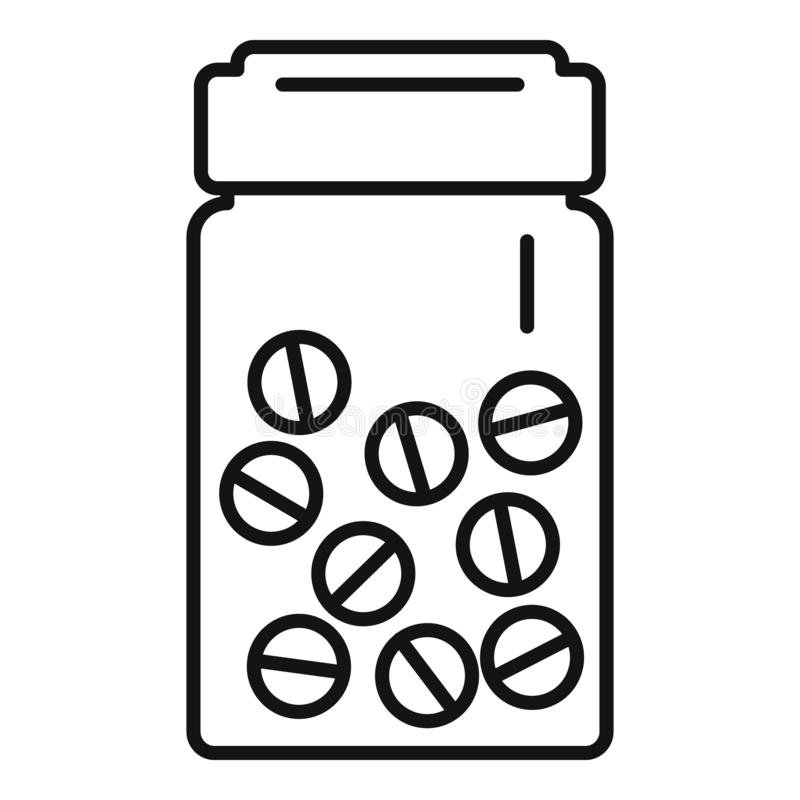 Icono antibiótico de las píldoras, estilo del esquema stock de ilustración