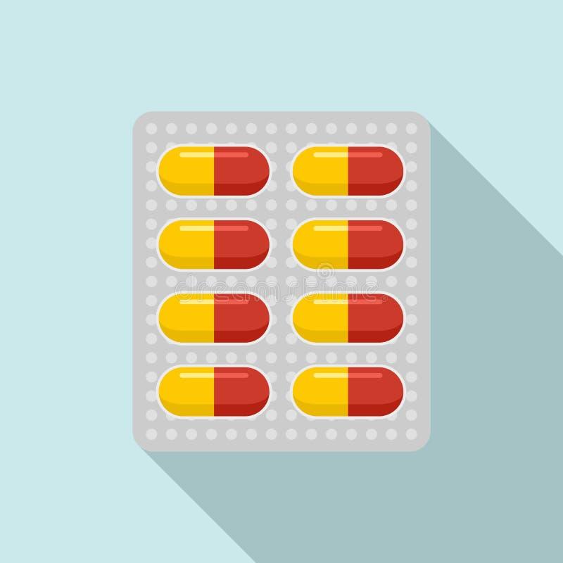 Icono antibiótico del paquete de la dosis, estilo plano ilustración del vector