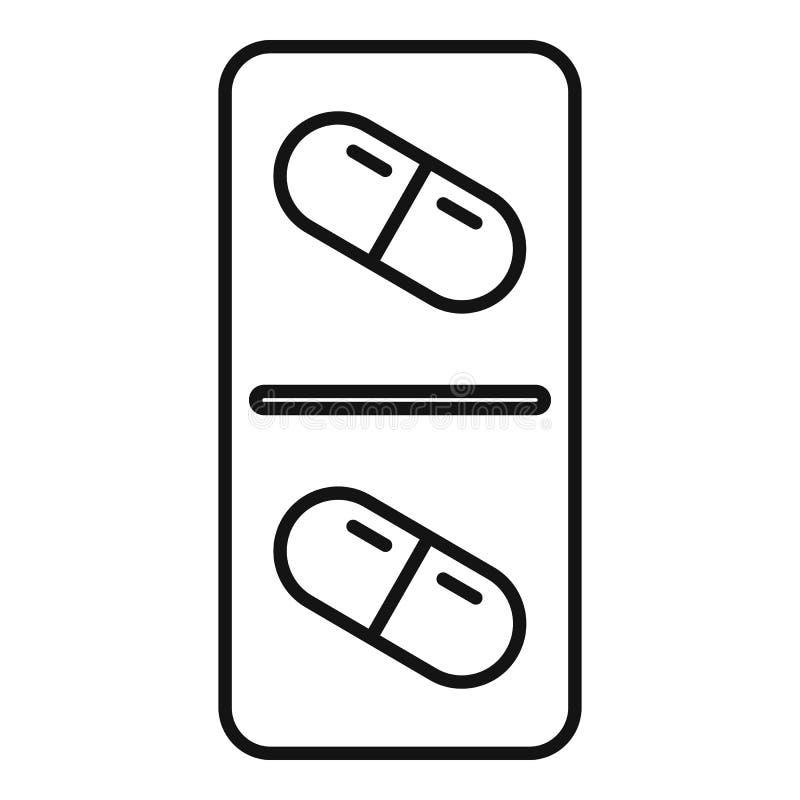 Icono antibiótico moderno de la cápsula, estilo del esquema ilustración del vector