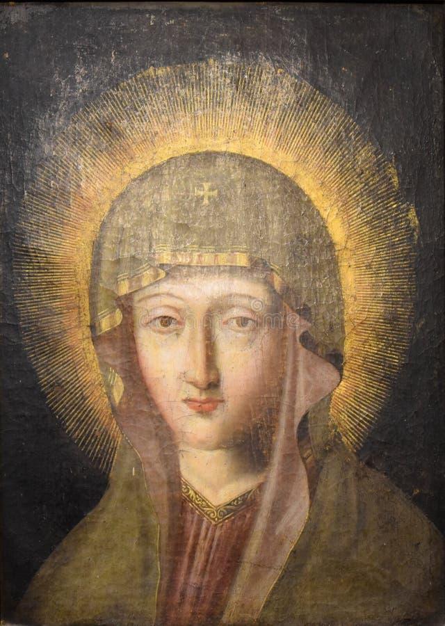 Icono antiguo de la Virgen bendecida Mary Mother de dios foto de archivo