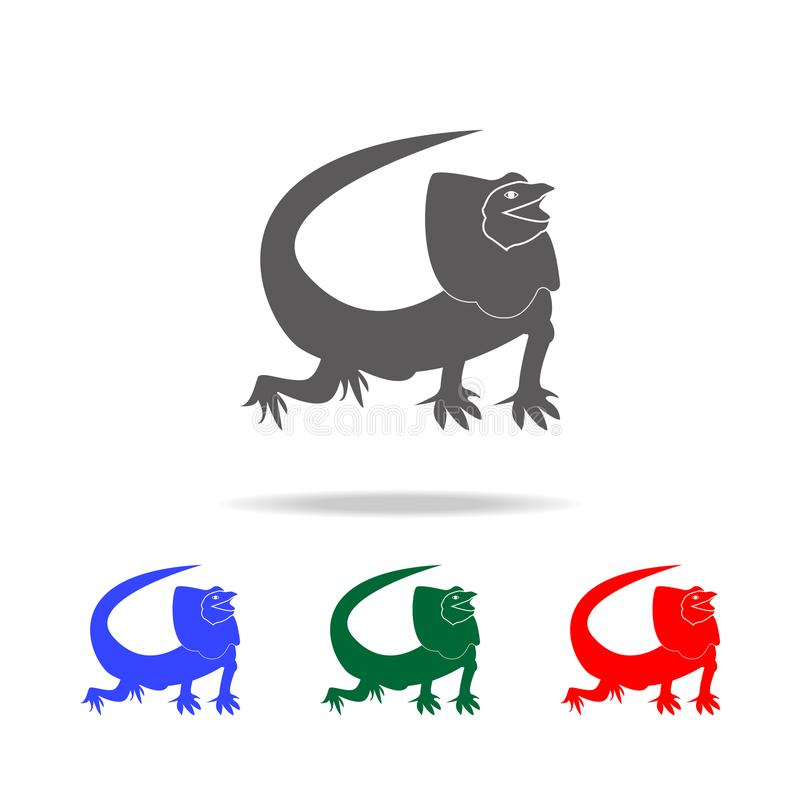Icono apacible del lagarto Elementos de los iconos coloreados multi de los animales australianos Icono superior del diseño gráfic libre illustration