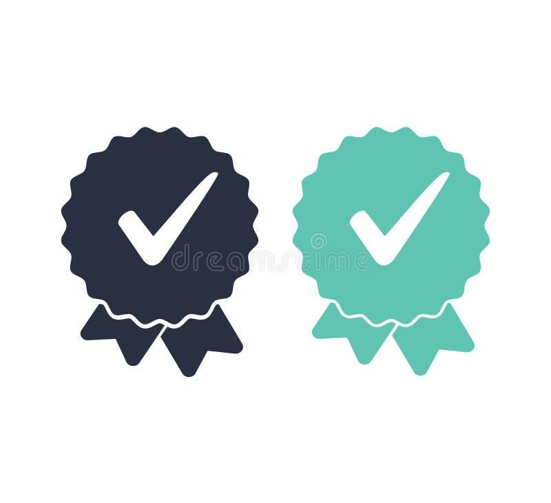 Icono aprobada o de la marca de verificaci?n Icono certificado calidad Ilustraci?n del vector Banderas de las cintas fijadas stock de ilustración