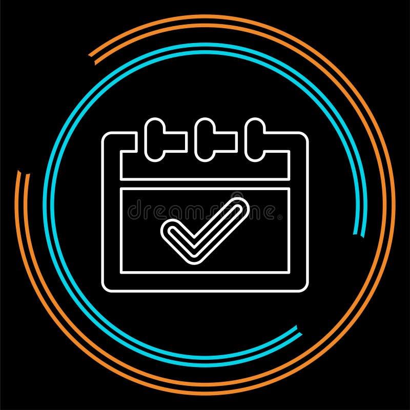 Icono aprobado del calendario - símbolo de la marca de verificación libre illustration