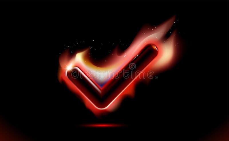 Icono ardiendo del fuego de la marca de cotejo, llamas de la señal, símbolo con efecto de las chispas Calor ardiente del ui moder libre illustration