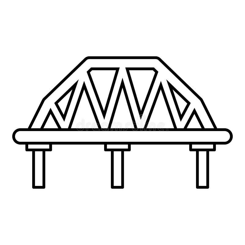 Icono arqueado del puente del tren, estilo del esquema ilustración del vector