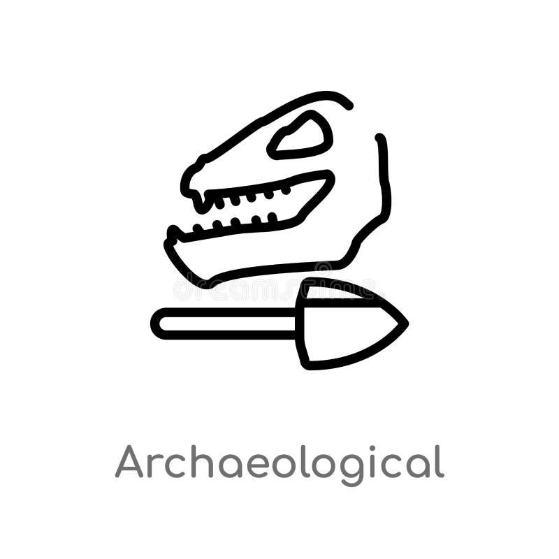 icono arqueológico del vector del esquema l?nea simple negra aislada ejemplo del elemento del concepto de la historia Movimiento  ilustración del vector