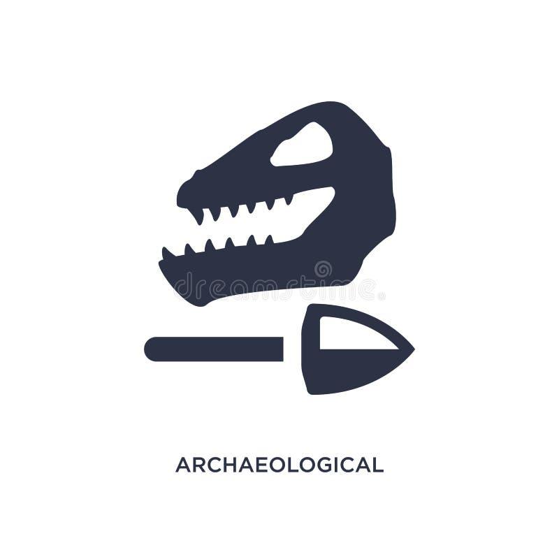icono arqueológico en el fondo blanco Ejemplo simple del elemento del concepto de la historia libre illustration